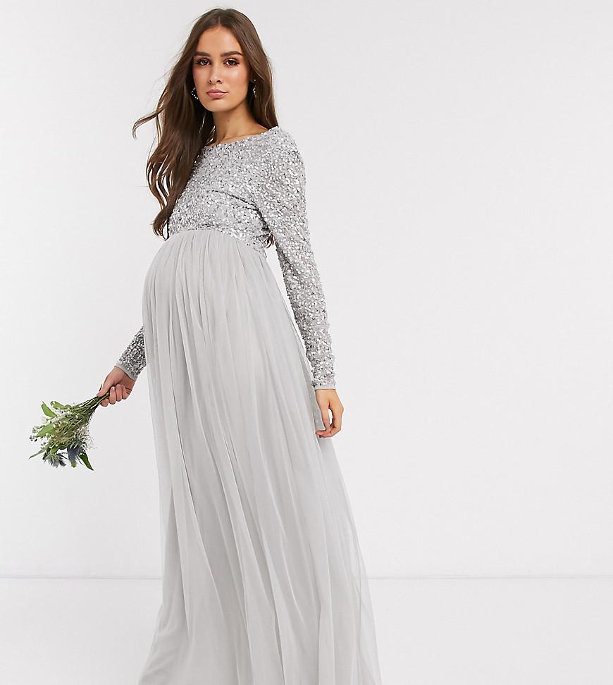 Långärmad gravidklänning bröllop vinter