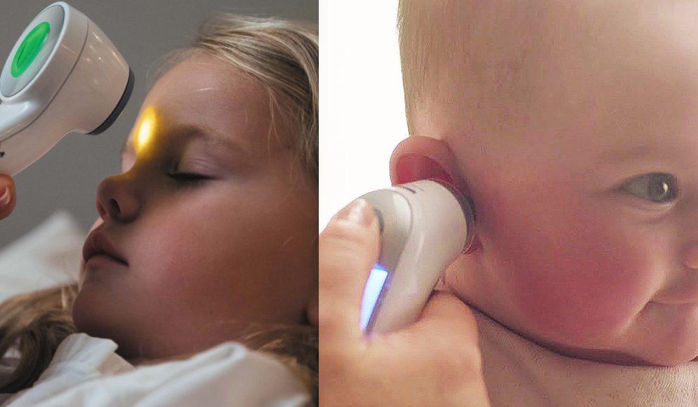 Febertermometer bebis barn örontermometer eller panntermometer