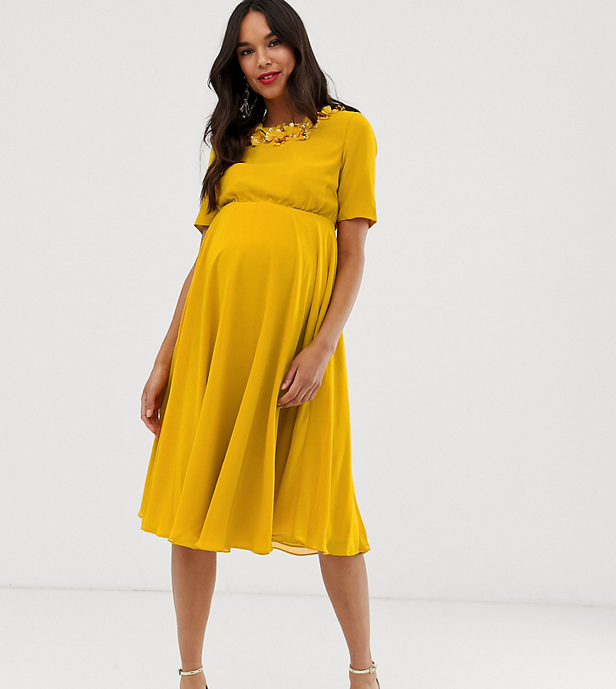 gravidklänning gul klänning gravid