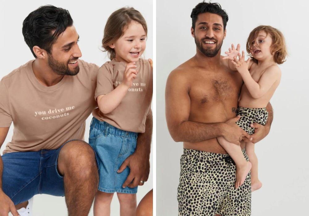 matchande kläder familj pappa son