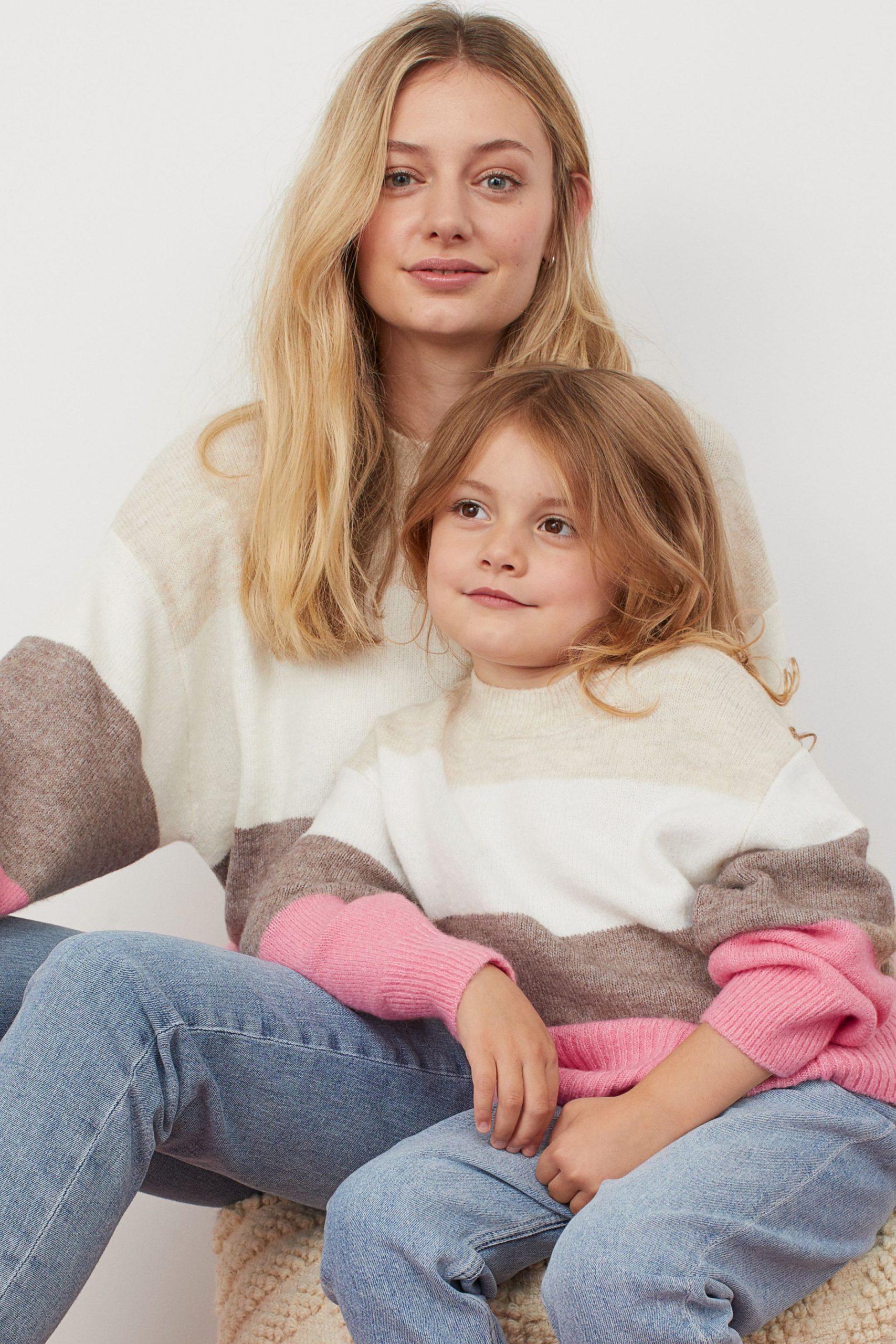 Stickad tröja H&M mini me kollektion matchande dotter mamma