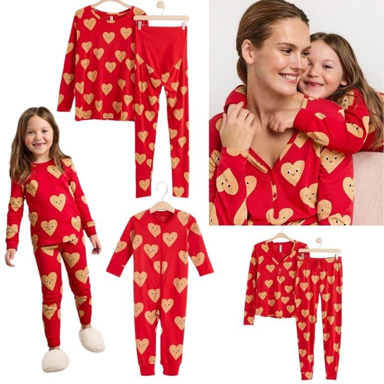 Matchande julpyjamas mamma dotter barn