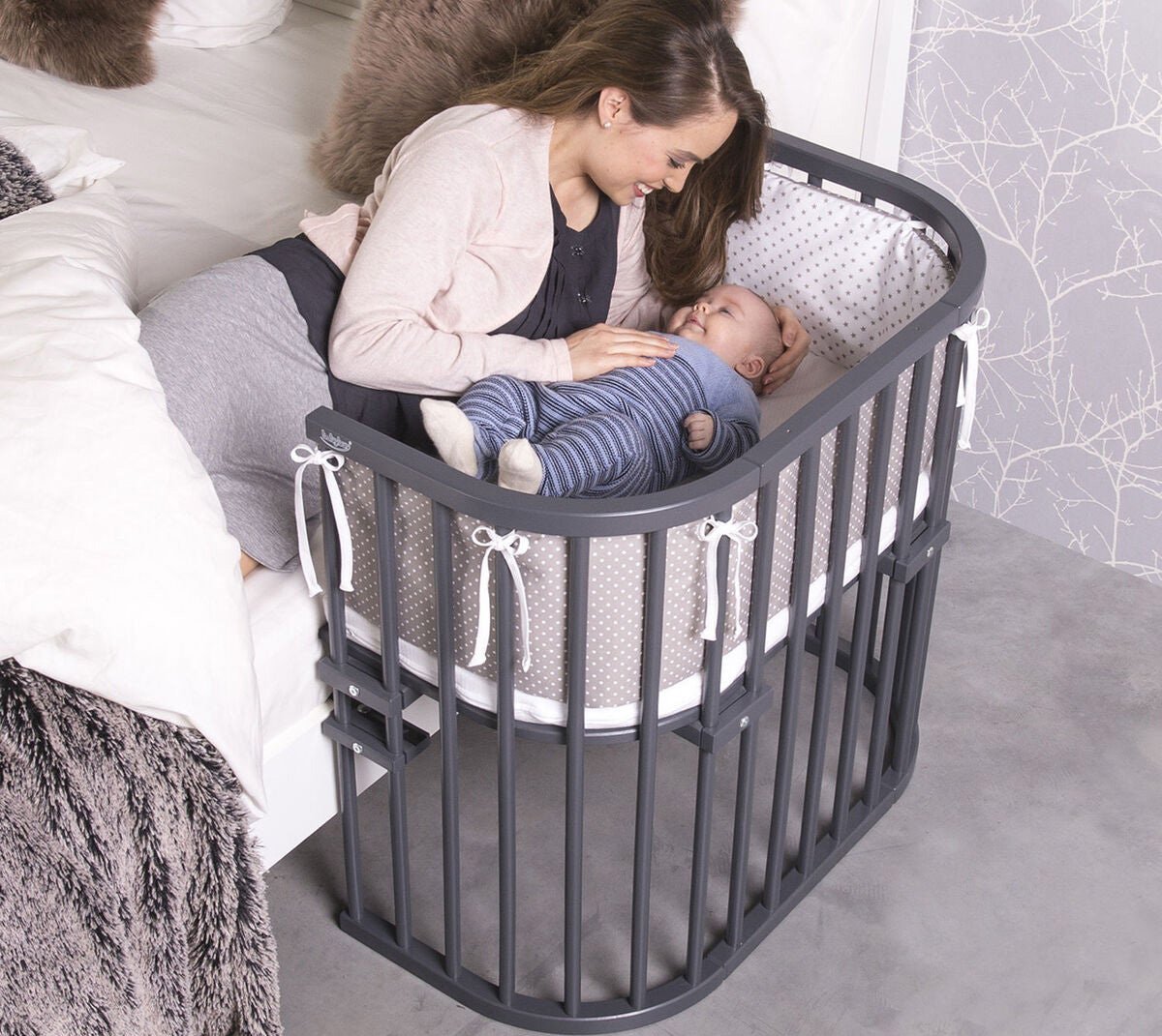 Grått bedside crib grå Babybay