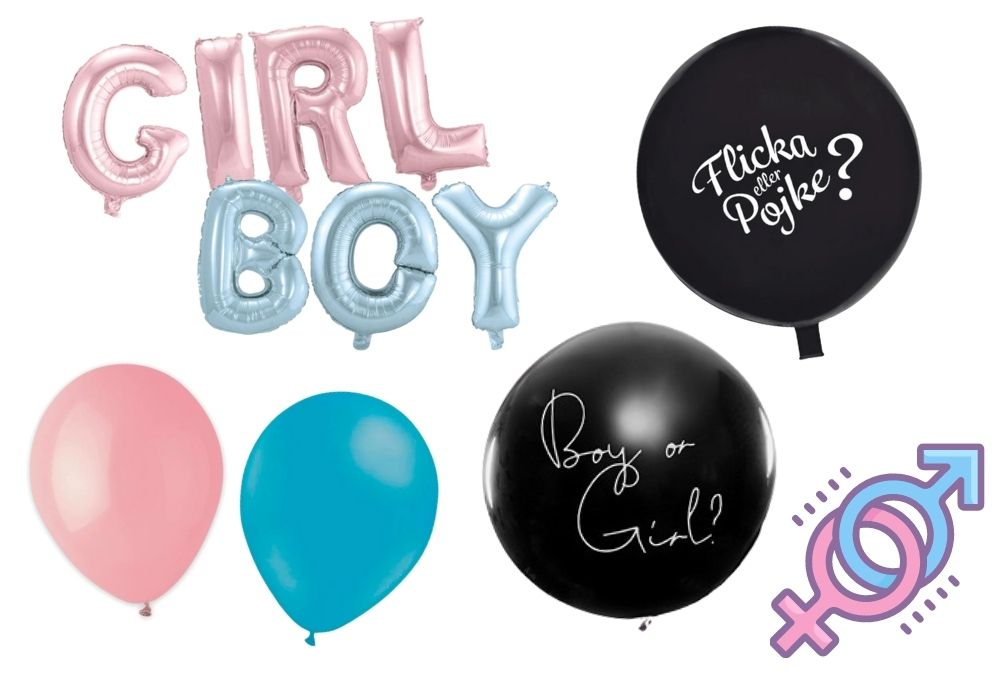 gender reveal ballong flicka pojke girl boy