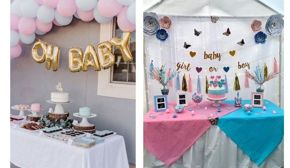 gender reveal dekoration dukning