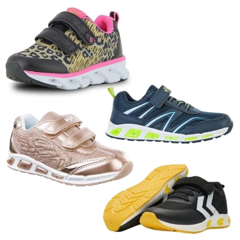 Led skor barn Sverige leopard skor med blinkande lampor i sulan