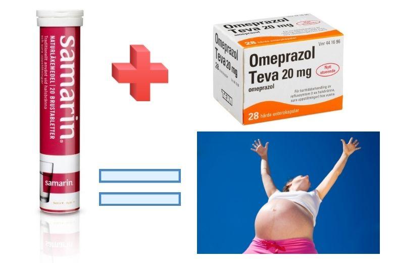 kombinera Omeprazol och Samarin gravid