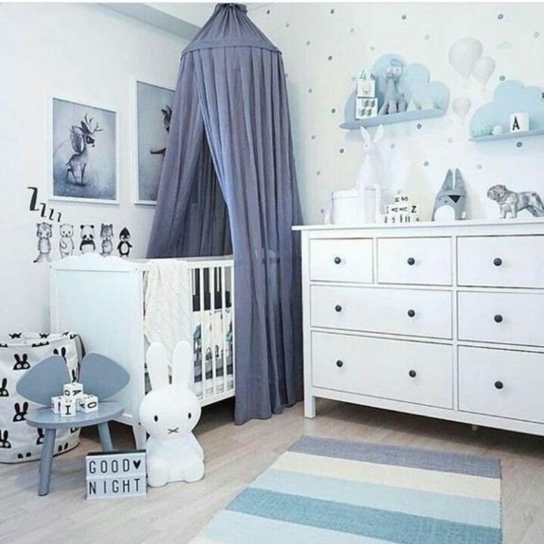 barnrum bebis pojke blått med sänghimmel