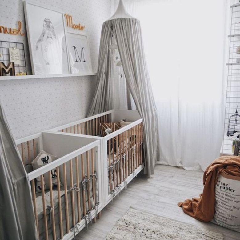barnrum för tvillingar bebis grått