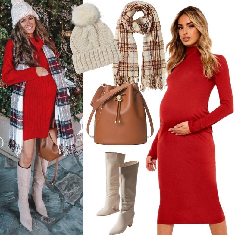 Julklänning röd gravid