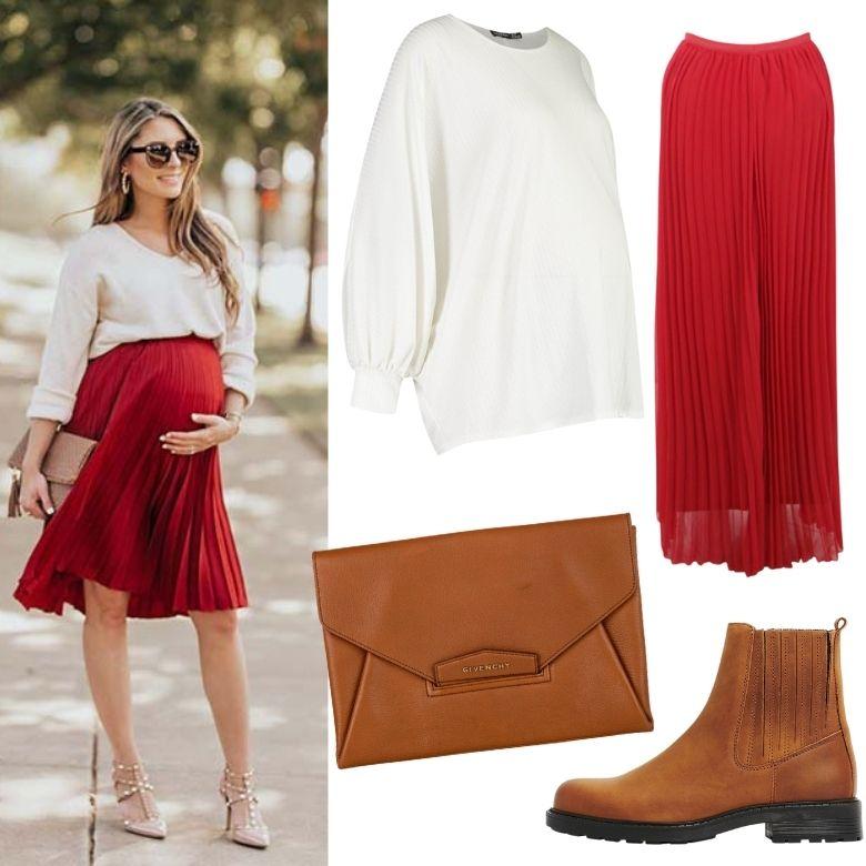 Röd kjol gravid jul outfit gravidkjol röd