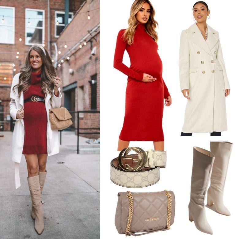 Röd klänning gravid julklänning